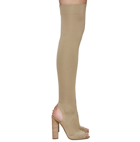 Paddy Cut Out Peep Toe High Chunky Heel Over the Knee Long Boots
