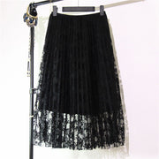 Lace Pleated Medium Style A-line Skirts