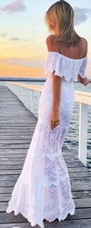 Off Shoulder Lace Mermaid Long Beach Dress - May Your Fashion - 2