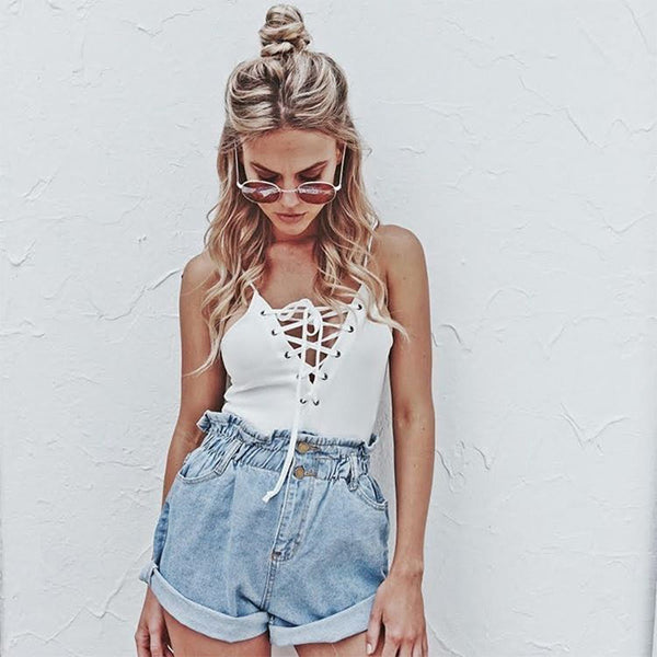 Curled High Waist Pure Color Loose Denim Shorts
