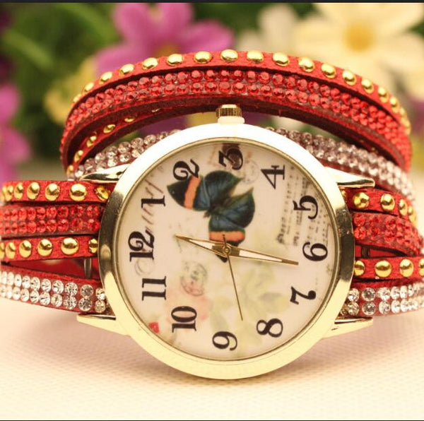 Colorful Butterfly Rivet Strap Watch