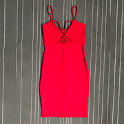 Spaghetti Straps Hollow Out Bodycon Short Party Dress