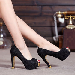 PU Pure Color Stiletto Heel Peep-toe High Heels