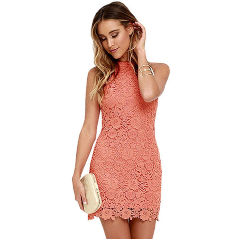 Pure Color Bear Shoulder Lace Pencil Short Party Dress