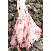 Chiffon Print High Waist Bohemian Long Swing Beach Skirt