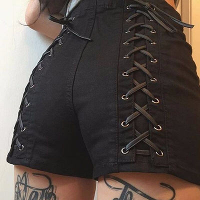 High Waist Pure Color Bandage Lace Up Patchwork Shorts