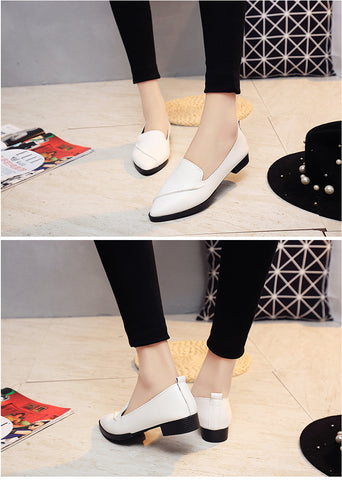 Color Block Pointed Toe Low Cut Flat Women Ankle Boots