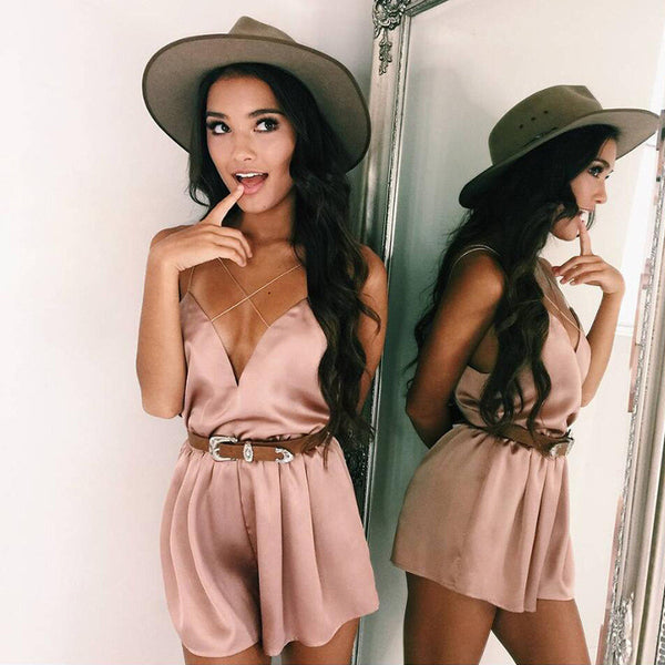2017 Spaghetti Straps Loose Pure Color Short Jumpsuit