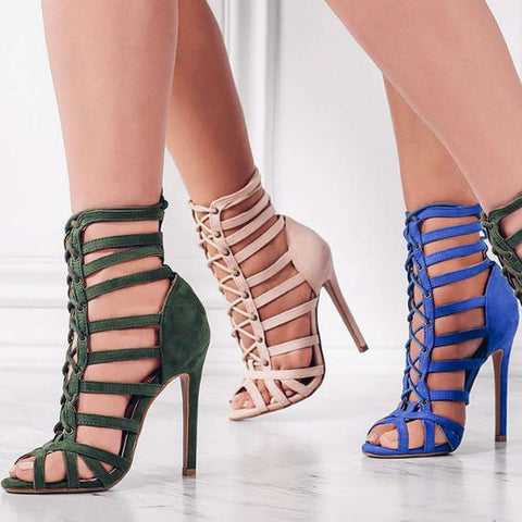 Cage Lace Up Single Sole Heels - Meet Yours Fashion - 5