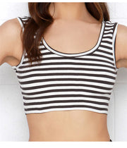 Contrast Color Stripe Sexy midriff Sleeveless Crop Top