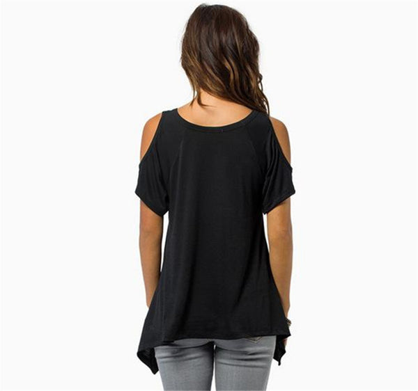 2017 Loose Round Collar Off Shoulder Irregular Short Sleeve T-shirt