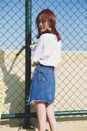 Summer New Fashion Joker Hole Burrs Denim Skirts