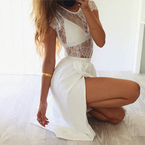Three Pieces Lace Crop Top Slit Long Skirt Dress Set