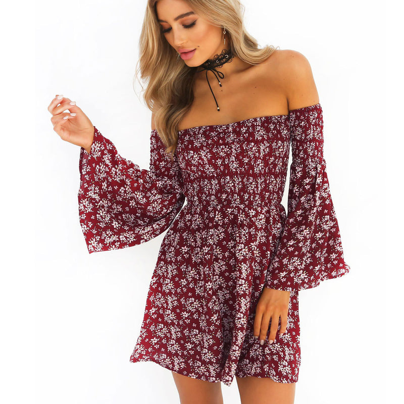 Off Shoulder Floral Print Long Trumpet Sleeves Short Dress