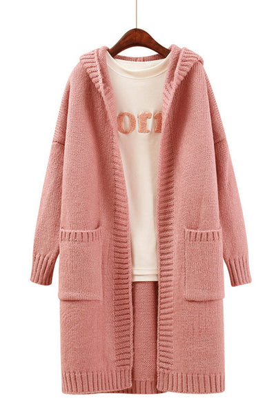 Candy Color Pockets Long Hooded Cardigan