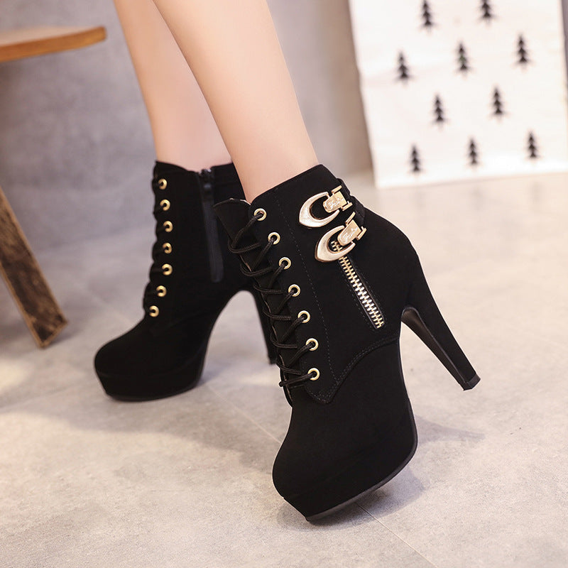 467c16ed0c4 Lace Up Side Zipper Round Toe Stiletto High Heels Short Boots –  MeetYoursFashion