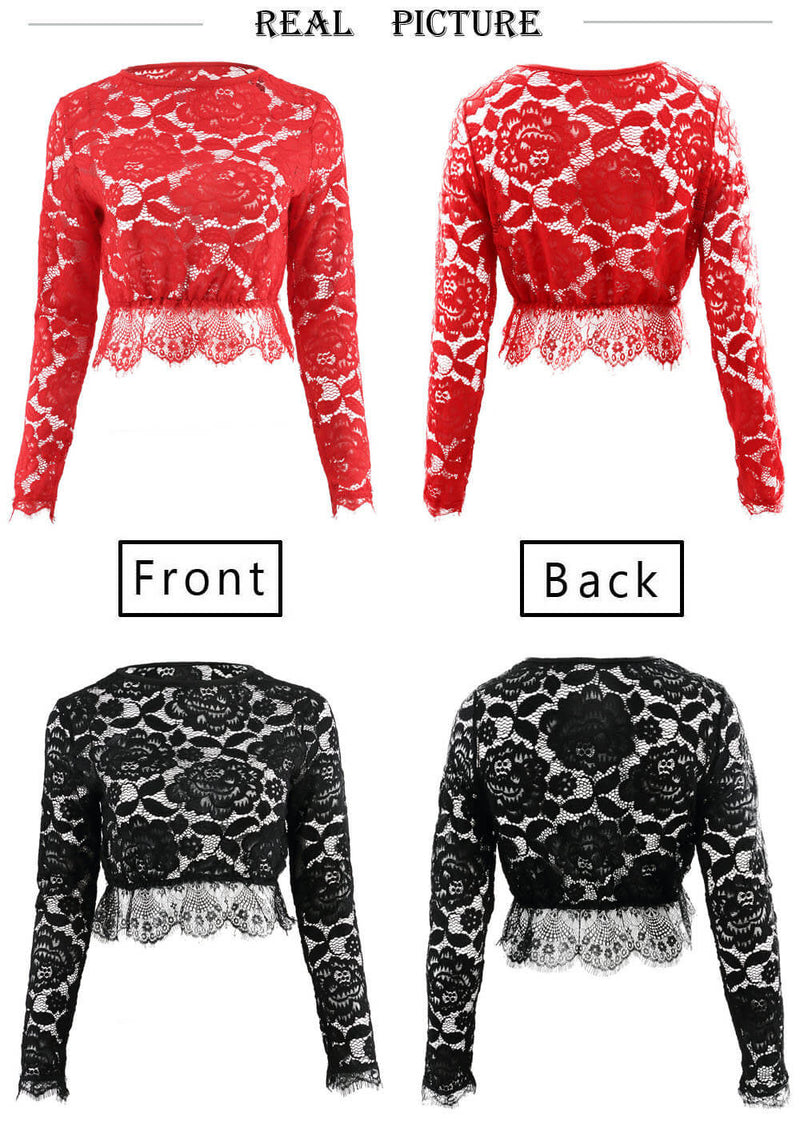 Long Sleeve Lace Hollow Out Falbala Short Blouse