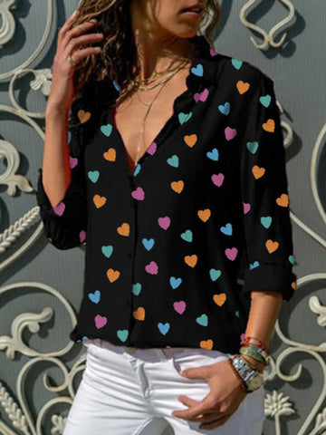 V-neck Long Sleeves heart-shaped Print Casual Blouse