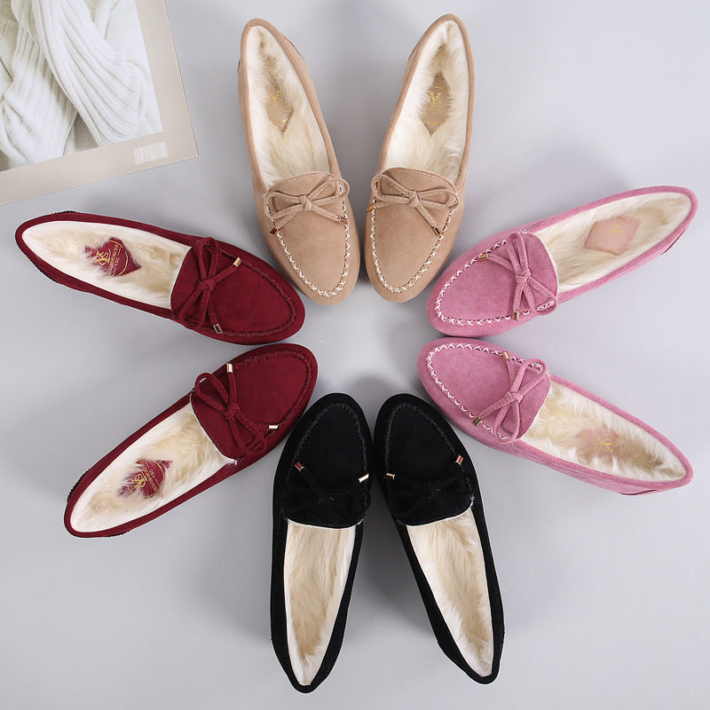Bow And Velvet Bean Shoes