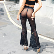 Sexy Beadings Transparent See Through Women Skinny Pants