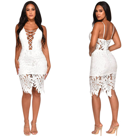Spaghetti Straps Hollow Out Lace Irregular Party Dress