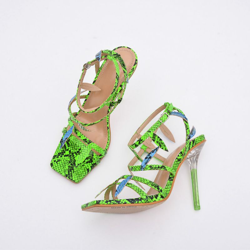 Green snake high heeled sandals