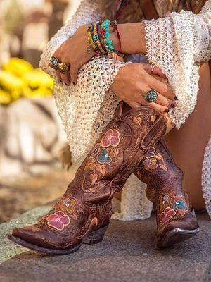 Floral Closed Toe Slip-On Embroidery Boots