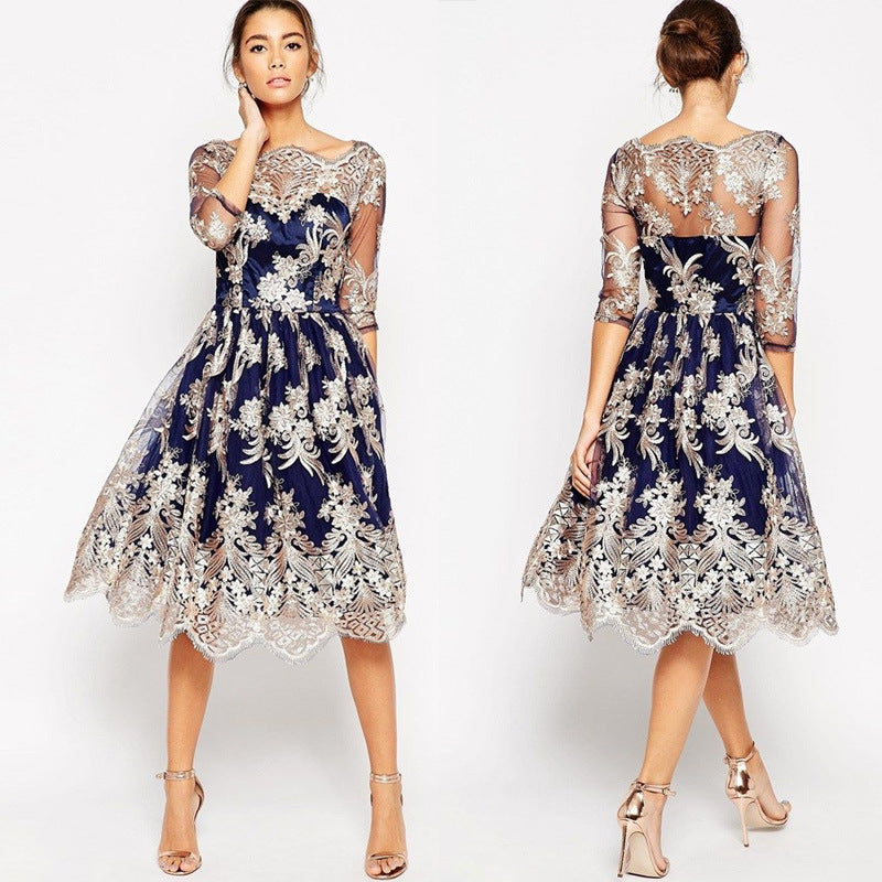 a6ad3229c27 3 4 Sleeve Off Shoulder Retro Embroidery Knee-length Lace Party Dress –  MeetYoursFashion