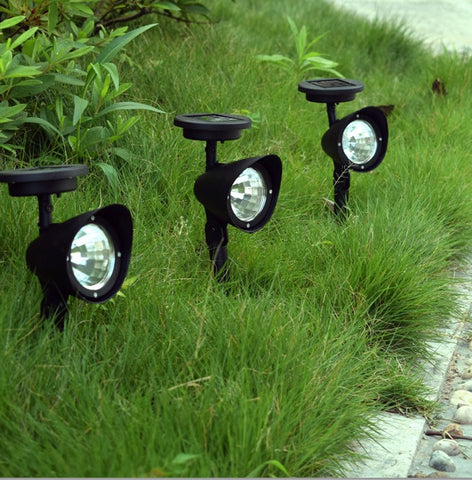 New Solar energy Solar Garden Lamp Spot Light Outdoor Lawn Landscape Path 3 LED Spotlight Black