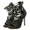 Women's High Heel Gladiator Black Strappy Stiletto Sandals