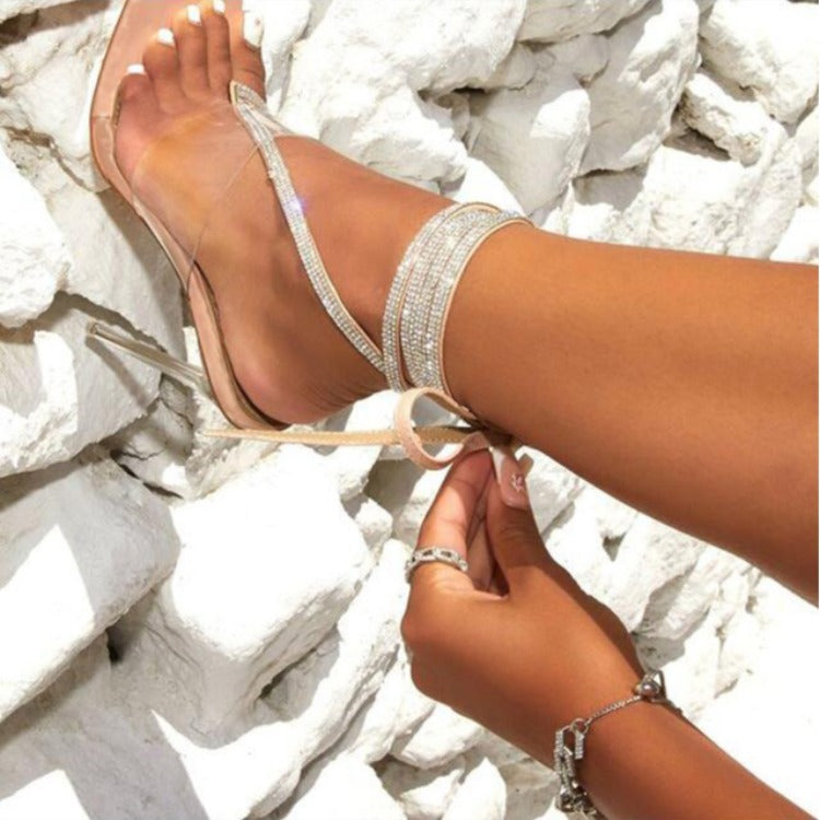Water drill strap clip toe transparent stiletto sandals