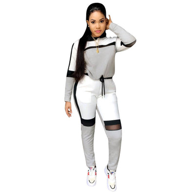 Color collision Mesh splicing Sweatshirt with Skinny Pants Two Pieces Set