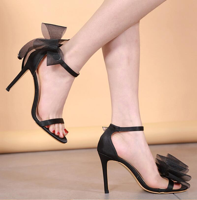 LARGE BOW NET SATIN SANDALS
