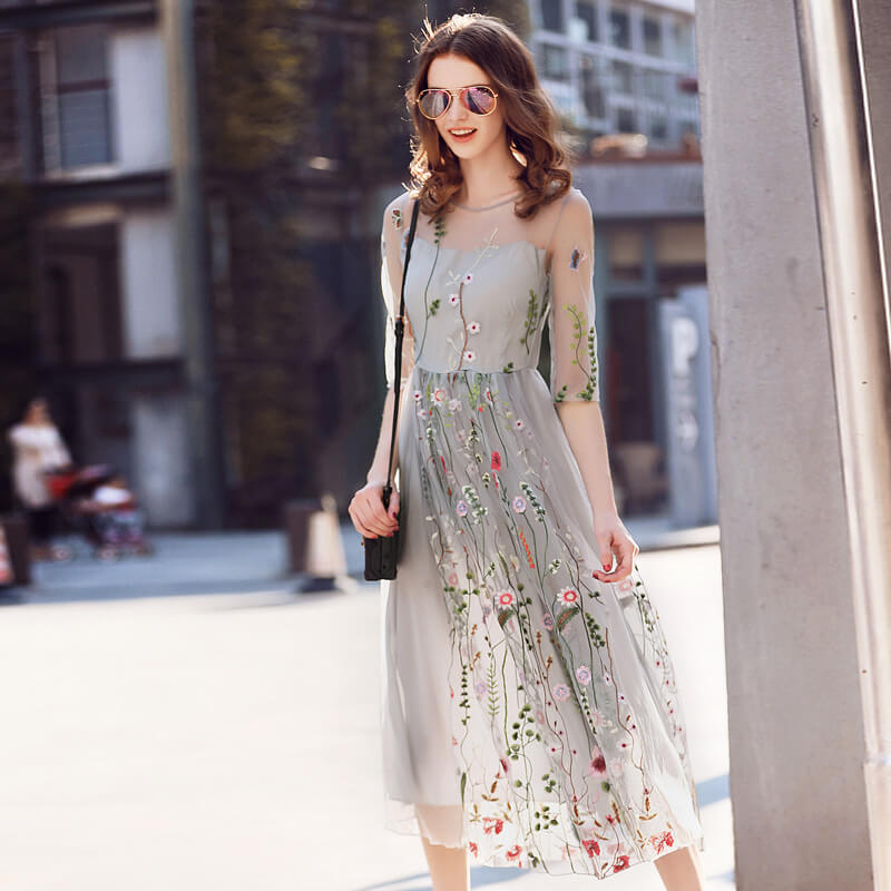 Embroidery   Mesh Pleated Long Party Chiffon Dress