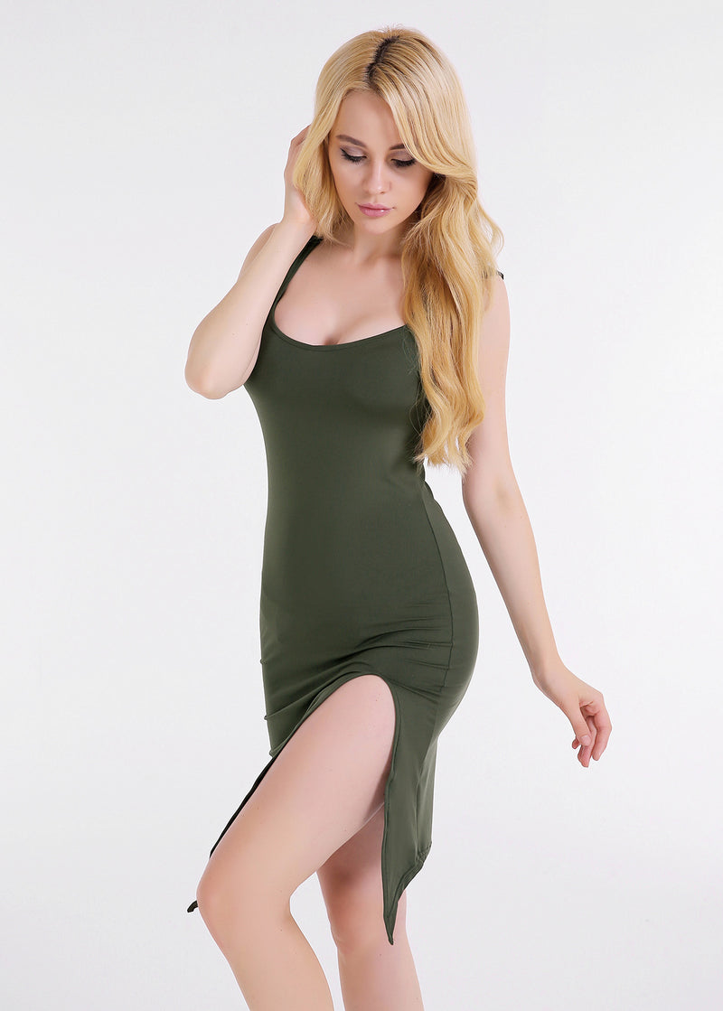Sexy Sleeveless Bodycon Split Irregular Dress