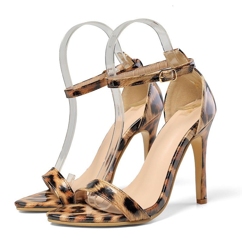 Leopard print pointed stiletto sandals