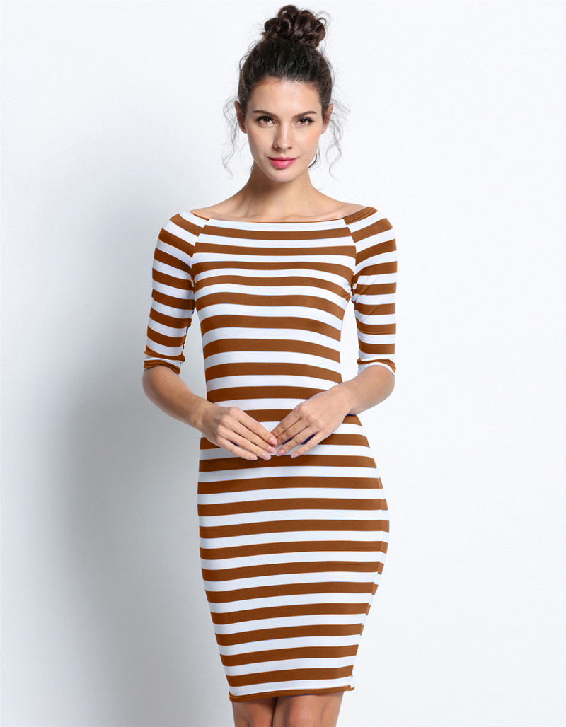 Off Shoulder Long Sleeves Stripe Short Bodycon Dress