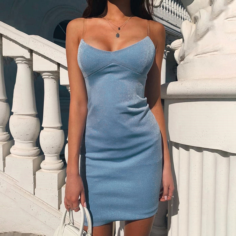 Transparent Shoulder Strap V-neck Open Back Sexy Slim Dress