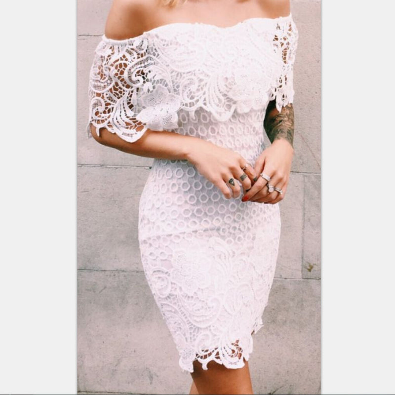 Lace Off Shoulder Sleeveless Bodycon Short Dress