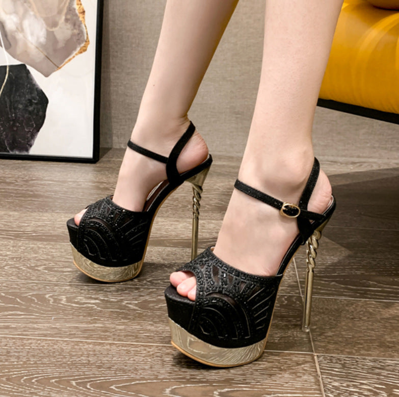 Water Drill Fish Mouth Thin High Heel Sandals