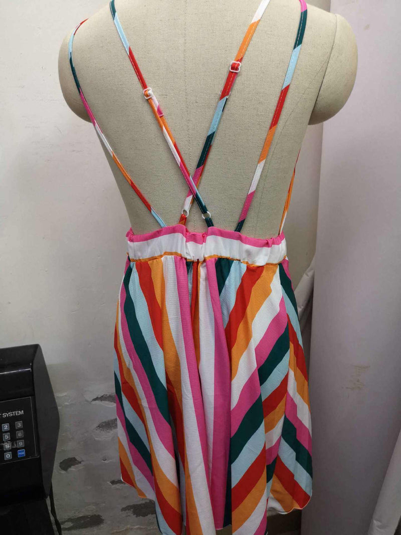 Stripe Spaghetti Straps Pleat Short Dress