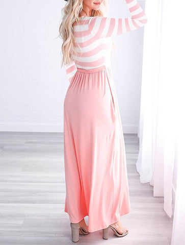 Striped Lovely Scoop Long Sleeve Long Dress