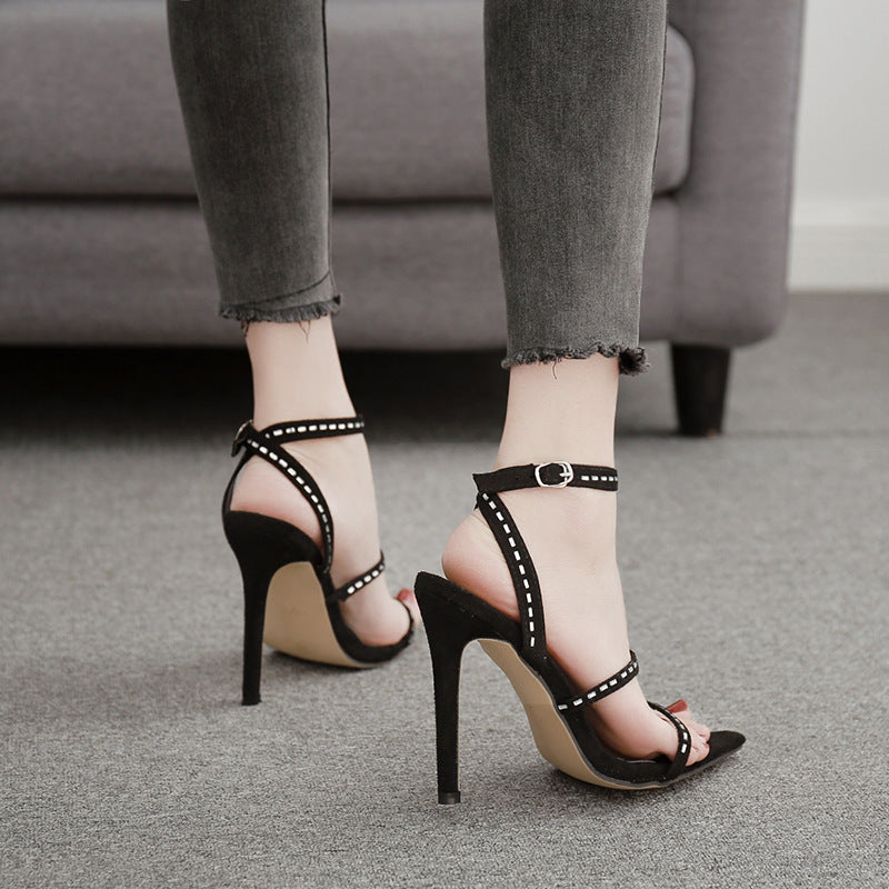 Versatile and sexy slim heel Rhinestone High Heel Sandals
