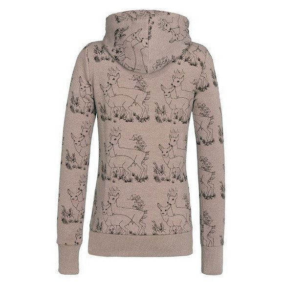 Deer Print Drawstring Womens Hoodie Sweatshirt - MeetYoursFashion - 5