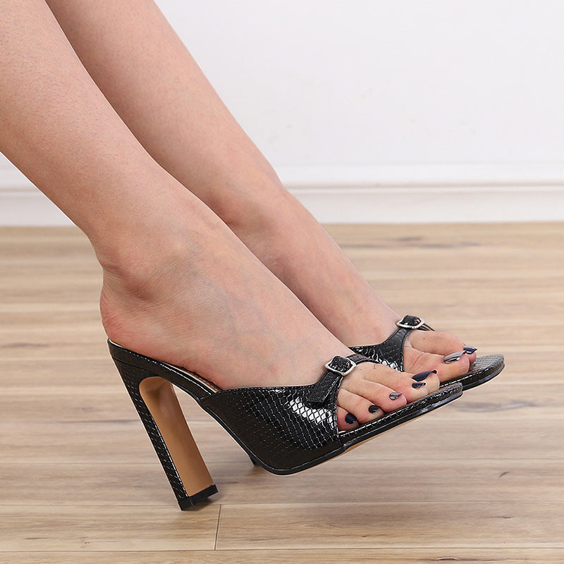 Square Head Snake Pattern Thick High Heel Belt Sandal
