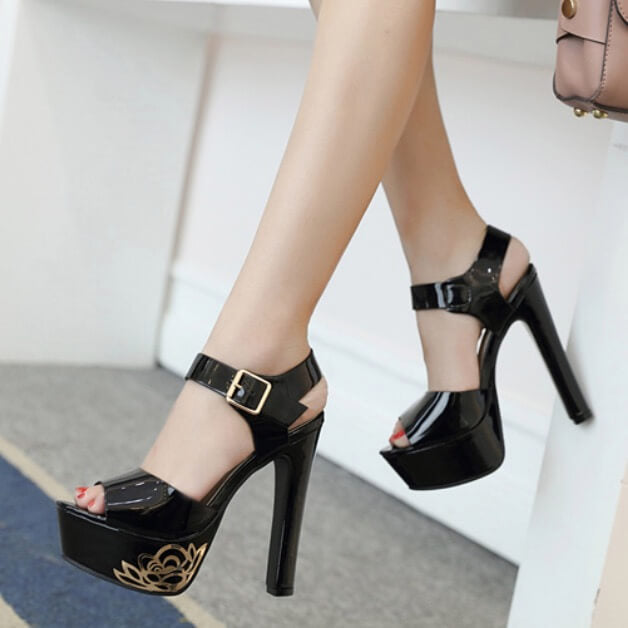 Open Toe Ankle Wrap Platform Super High Chunky Heel Sandals
