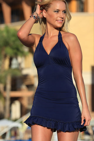 Neck Hanging Solid One Piece Swimwear