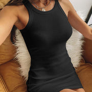 Sleeveless Soild Tight Bodycon Short Dress