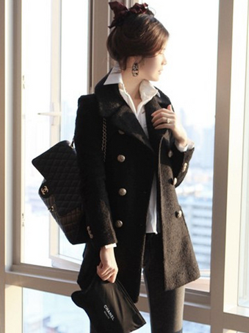 Double Breasted Lapel Slim Solid Long Coat - Meet Yours Fashion - 5