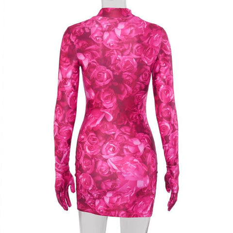 Rose Printed Cover Finger Bodycon Dress